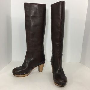 MARNI Tall Leather Boots pull on clog Studs